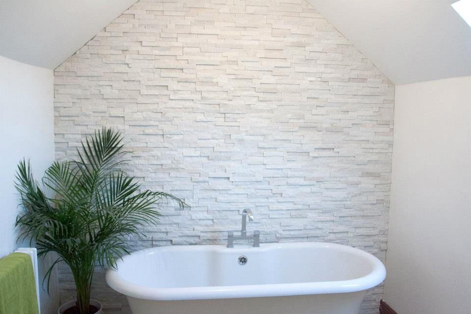 Split Face Tiles. White Quartz Bristol Somerset